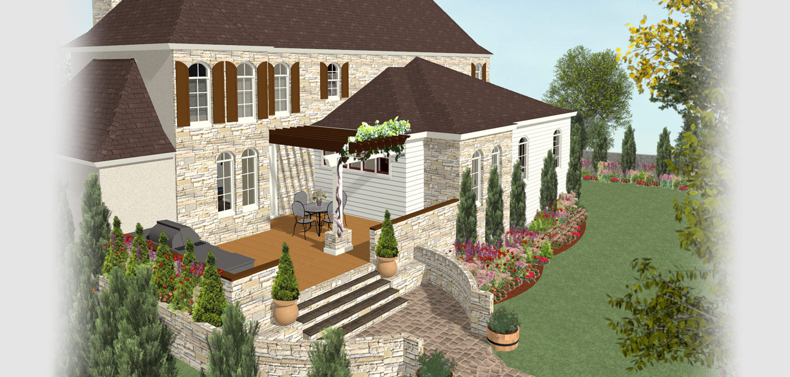Home designer software for deck and landscape software for Backyard patio landscaping