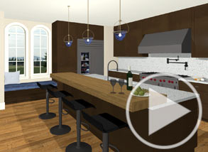 Modern kitchen with a breakfast bar