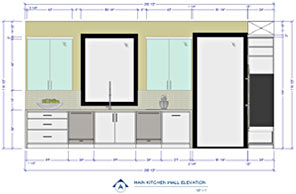 A detailed elevation of a kitchen