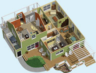 Floor and Space Planning Doll House View