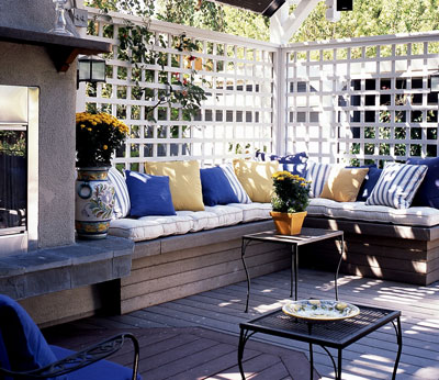 Deck with outdoor seating built in