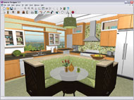 Retro Kitchen Design Rendering