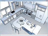 Technical Illustration Kitchen Overview Rendering
